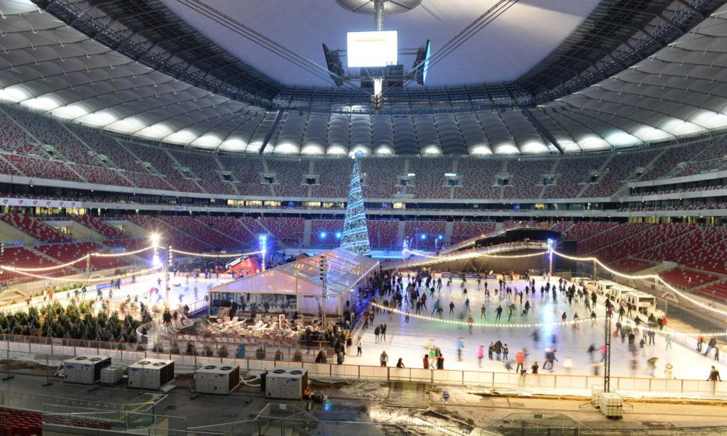Zimowy Narodowy rozświetlony światłem LED